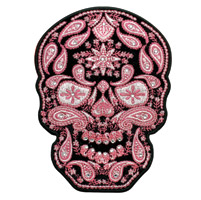 Hot Leathers Paisley Skull Embroidered Patch w/Rhinestones