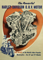 Harley-Davidson O.H.V. Motor Poster