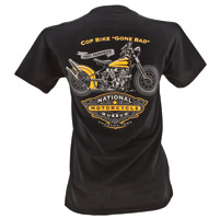 National Motorcycle Museum Cop Bike Gone Bad T-shirt