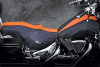 BikeSheath Black and Orange Seat and Tank Cover w/Backrest