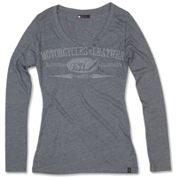 Roland Sands Design Long-Sleeve Heather Gray Vee Neck T-shirt