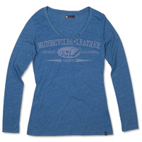 Roland Sands Design Long-Sleeve Heather Blue Vee Neck T-shirt