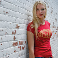 Roland Sands Design Cafe Wing Ladies Red Fitted T-shirt