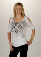 Liberty Wear Ladies Embellished White Open Shoulder Top