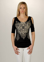 Liberty Wear Ladies Embellished Black Open Shoulder Top