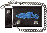 Hot Leathers Blue Fire Bike Tri-Fold Leather Wallet