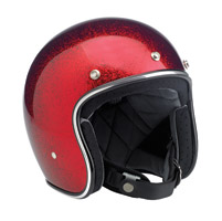 Biltwell Inc. Bonanza 3/4 Wine Red MegaFlake Open Face Helmet