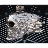 Chrome Dome Chrome Flaming Skull Horn Cover