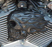 Chrome Dome Satin Black Flaming Skull Horn Cover