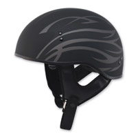 GMAX GM65 Naked Grit Flat Black/Silver Half Helmet