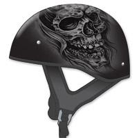 GMAX GM65 Naked Ghost/RIP Flat Black/Silver Half Helmet