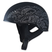 GMAX GM65 Naked Rose Flat Black/Silver Half Helmet