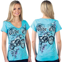 Liberty Wear Ride On Embellished Aqua Top