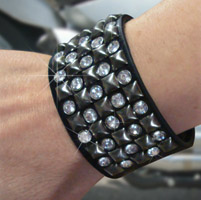 That's A Wrap Stud & Rhinestones Leather Cuff