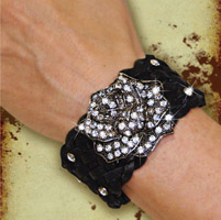 That's A Wrap Vintage Rose Leather Cuff