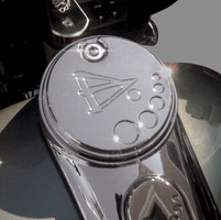 Battistinis Chrome Fuel Door Cover for FLT, FLHT, Road Glide and Street Glide