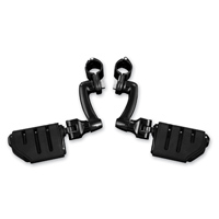Kuryakyn Gloss Black Longhorn Trident Dually Pegs with 1-1/4″ Magnum Quick Clamps