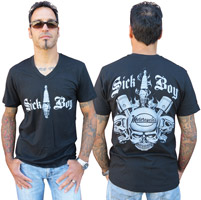 Sick Boy Spark Plug Black V-neck T-shirt