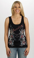 Liberty Wear Women's Embellished Freedom Black Tank Top
