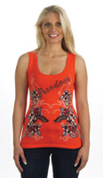 Liberty Wear Women's Embellished Freedom Orange Tank Top