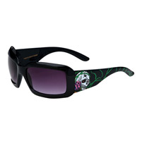 Chap'el T-6004 Skull/Green Vines Black w/Smoke Lens Tattoo Sunglasses