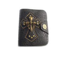 AMiGAZ Black Skull Cross Bifold Wallet