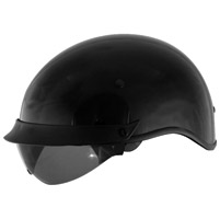 Cyber U-72 Black Half Helmet with Internal Shield