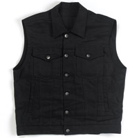 Biltwell Inc. Men's Denim Collared Black Vest