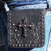 That's A Wrap Leather Belt Purse w/Pewter Cross Hematite Studs