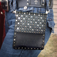That's A Wrap Leather Belt Purse w/Hematite Studs