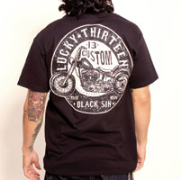 Lucky-13 Men′s Black Sin T-shirt