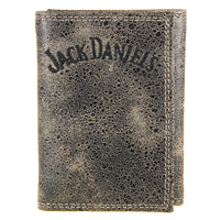 Jack Daniel's Charcoal Distressed Leather Trifold Wallet