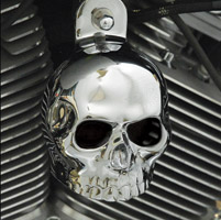 Chrome Dome Chrome 3-D Skull with Cut Out Eyesl Horn Cover