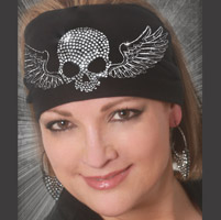That's A Wrap Skull Winged Black Knotty Head Band