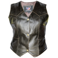 Allstate Leather Inc. Women's Retro Brown Buffalo Leather Vest