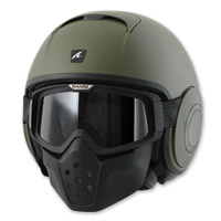 Shark RAW Blank Matte Green Open Face Helmet