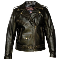 Allstate Leather Inc. Women′s Retro Brown Motorcycle Jacket