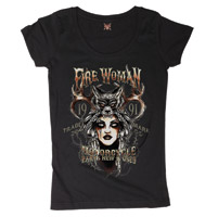 Lucky-13 Women's Fire Woman Black Scoop Neck T-shirt