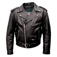 Allstate Leather Inc. Men′s Tall Black Buffalo Leather Motorcycle Jacket