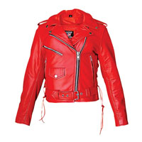 Allstate Leather Inc. Women′s Red Leather Motorcycle Jacket