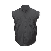 Allstate Leather Inc. Men's Cotton Button Down Black Sleeveless Shirt