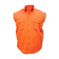 Allstate Leather Inc. Men's Cotton Button Down Orange Sleeveless Shirt
