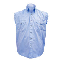 Allstate Leather Inc. Men's Cotton Button Down Blue Sleeveless Shirt