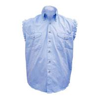 Allstate Leather Inc. Men's Cotton Button Down Blue Sleeveless Shirt