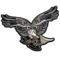 Hot Leathers Black Bird Eagle Embroidered Patch