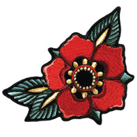 Hot Leathers Tattoo Flower Embroidered Patch