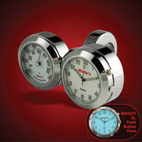 Marlin's Handlebar Dual Mount Back-lit EL White Clock and Thermometer