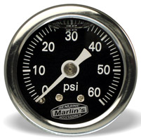 Marlin's Black 0-60 PSI Liquid-Filled Oil Pressure Gauge