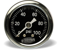 Marlin's Black 0-100 PSI Liquid-Filled Oil Pressure Gauge