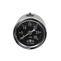 V-Twin Manufacturing Liquid Filled 30lb. Oil Pressure Gauge